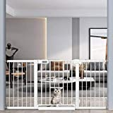 Extra Wide Baby Gate with Small Cat Door - Walk Through Safety Gates for Kids and Pet - Double Locking Child Gates 62.6'-65.3' Inch Wide