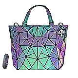 Las mujeres geométricas luminosas monederos y bolsos cambiantes de color carteras holográficas reflexivas cruzadas cuerpo bolsas mochila - gris -