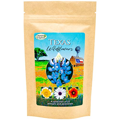 Created by Nature - Texas Wildflower Seed Mix - A Beautiful Collection of Twelve annuals and perennials - Over 40,000 Premium Seeds - Enjoy The Natural Beauty of Texas Flowers in Your own Home Garden
