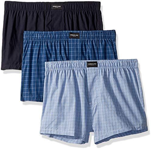 Kenneth Cole New York Herren Cotton Woven Boxer Underwear, Multipack Boxershorts, Courageous Print, Marineblau, rechteckiger Dobby, Vintage Indigo Chambray – 3er-Pack, Small