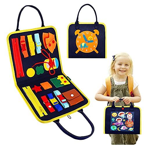 Kqpoinw Tablero ocupado, tablero de actividades, juguetes Montessori para niños pequeños de 1 2 3 4 5 años, juguetes educativos de aprendizaje de habilidades motoras para bebés
