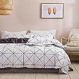 Ropa de cama de cuadros de 135 x 200 cm, color blanco y gris, 2 piezas, con cremallera, diseño geométrico de microfibra, moderno, reversible, para jóvenes y jóvenes