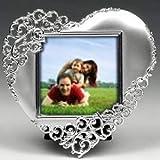 Cornice portafoto a forma di cuore argentata - matrimoni, anniversari, accessori per la casa, regalo romantico, elegante e di classe