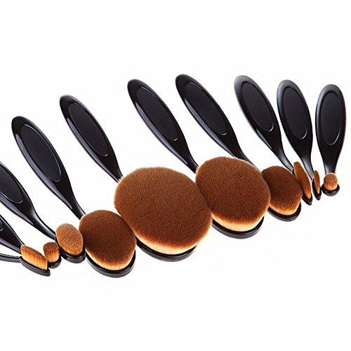 icase4u® 10 en 1 Conjunto de Maquillajes Profesional y Brochas de Forma Dientes Toothbrush Shape Oval Makeup Brush Set Fundación de Cosméticos Kit de Herramientas Pinceles Maquillaje de Belleza