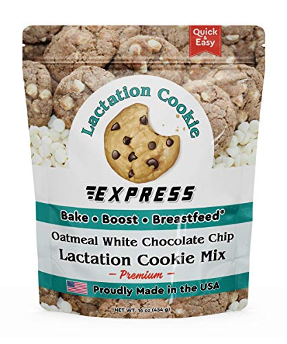 Lactation Cookie Express Premium Oatmeal White Chocolate Chip Lactation Cookies Mix for Breastfeeding Mothers to Increase Breast Milk Supply with Brewers Yeast, Oats, Flaxseed, 2 dozen