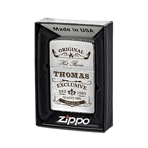 polar-effekt Zippo Sturmfeuerzeug gebürstet mit Gravur - Personalisierte Benzin-Feuerzeug mit Geschenketui - Geburtstagsgeschenk für Männer - Motiv Original-Exklusive