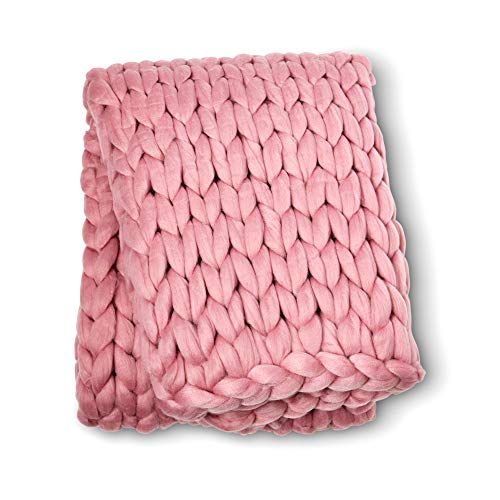 ColeyBear Millennial Pink Boho Home Decor Blanket (40in x 60in) - Big Chunky Yarn Knit Blankets - Handmade Oversized Throw Comforter - Massive Hand Knitted Throw Blanket (Millennial Pink)