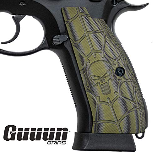 Guuun CZ 75 SP-01 Grips Full Size SP-01 Shadow Tactical CZ Griffe, Cobweb Punisher Skull Texture G10 Pistolen Griff
