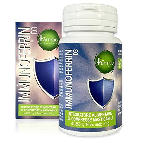 Immunoferrin, Lattofferina pura, 60 compresse | con Vitamina C, Vitamina D e Zinco | Rinforza il sistema immunitario | Lattoferrina integratori | Antiossidante stimola le Difese Immunitarie