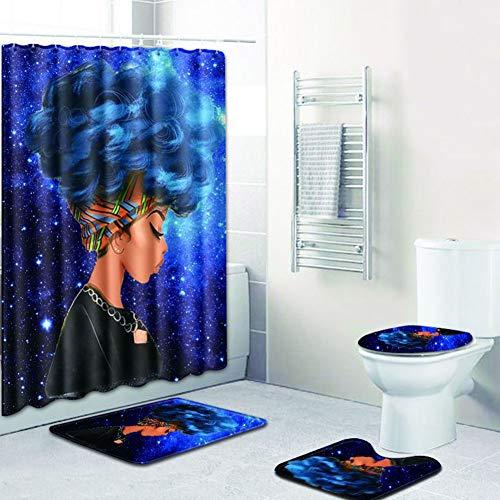Zehui African Women Printing Toilet Pad Cover Bath Mat Shower Curtain Set Four-Piece Set Fzn0018