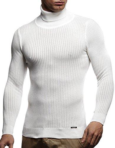 Leif Nelson suéter de Jersey de Punto Fino de Cuello Alto de Punto de los Hombres LN-1670 Color Crudo Large
