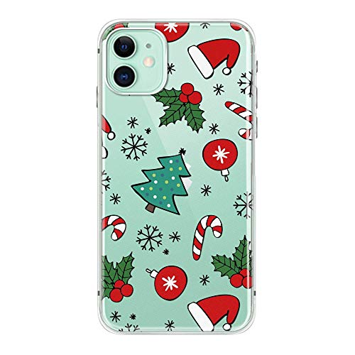 2019 New iPhone 11 Christmas Santa Case Clear TPU Full Body Protective Shockproof Slim Wireless Charging Support for iPhone 11 6.1 inch Case Tree(6)
