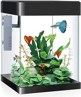 HIZLJJ خزان زجاجي لحوض السمك مع إضاءة LED مربعة الشكل لتزيين سطح المكتب مجموعة حوض السمك المائية والأسماك الذهبية (اللون: ...