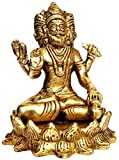 Purpledip Brass Idol Brahma Four Heads (Thai Phra Phrom) Sitting in Padamasana on Lotus: Rare Collection Statue (12045)