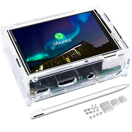 kuman 3.5 Inch Touch Screen TFT Monitor LCD Dsiplay with Protective Case 320x480 Resolution TFT LCD Display for Raspberry Pi 3B+,3B,2B,Bildschirm SC107