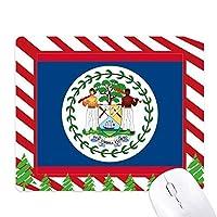 ベリーズ国旗の北アメリカ 国シンボルマークパターン ゴムクリスマスキャンディマウスパッド