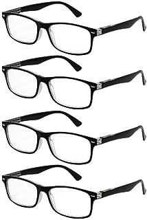 TBOC Occhiali da Vista Lettura Presbiopia - [Pack 4 Unità] Graduati +3.00 Diottrie Montatura Bicolore Nera e Trasparente F...