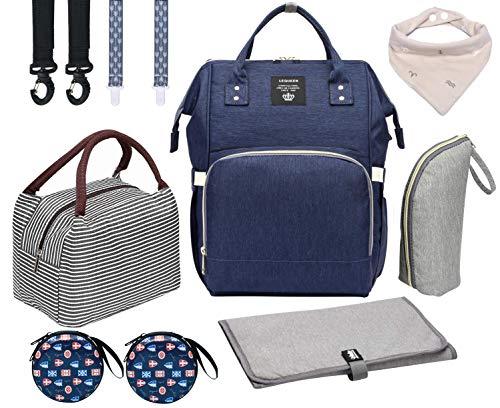 Juego de bolsa de pañales, mochila 8 en 1 para el cuidado del bebé para mamá papá, bolsas de pañales impermeables, Juego azul profundo, Large