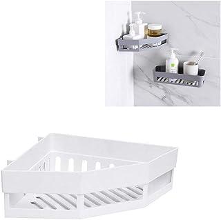Bigdispawl - Estante de almacenamiento esquinero para ducha, estantería adhesiva para condimentos de ducha, organizador de champú de gel, cesta de baño, plástico, Blanco, 27*18.5*6cm/10.63*7.28*2.36in