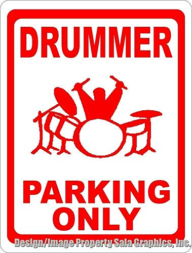 Inga Drummer Parking Only Sign Gift For Players Of Drums & Percussions Metal Sign Funny Tin Sign 8x12 inch