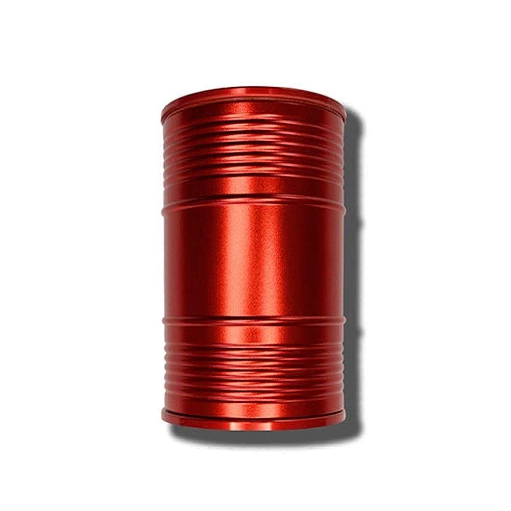 豆シチリア透過性創造的なオイルバレル形状ミニ車ポータブル灰皿カバーデザイン個性創造的な金属室内装飾、品質保証 (色 : 赤)