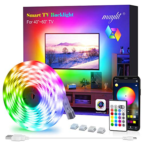 Led Strip Lights, Maylit 8.2 ft Tv Led Backlight for 40-60 inch Tv Bluetooth Control Sync to Music, USB Bias Lighting Tv Led Lights Kit with Remote - RGB 5050 LEDs Color Lights for Room Bedroom