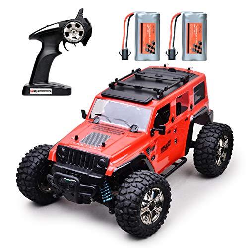 MKZDGM RC Autos Offroad Ferngesteuertes Auto 4WD 2,4GHz Radio RC Rock Rennauto Elektroauto RTR Hobby-Spielzeug im Maßstab 1:14,Ferngesteuerte Lastwagen Hochgeschwindigkeits-Rennmonster (red)