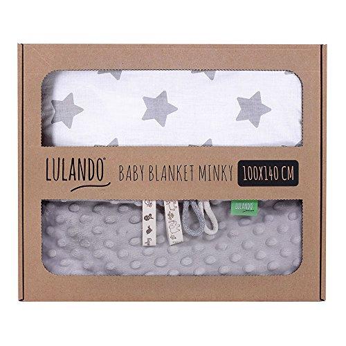 LULANDO Babydecke Kuscheldecke Krabbeldecke aus 100% Baumwolle (100x140 cm). Super weich und flauschig. Kuschelige Lieblingsdecke für Ihr Baby. Farbe: Grey - Grey Stars / White