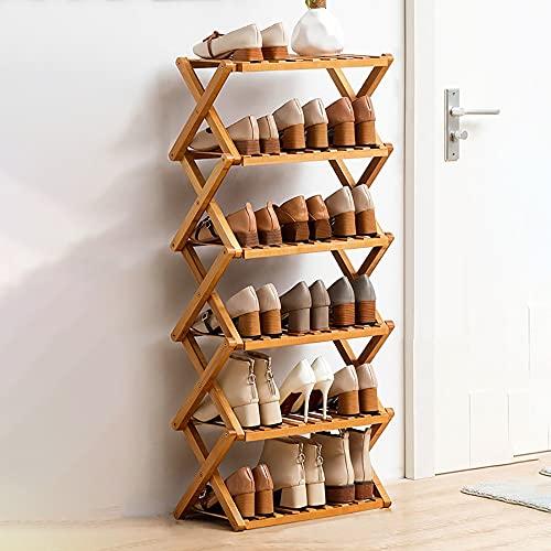 LOHOX Estante de Zapatos de 6 Niveles, Estantería para Macetas Zapatero Plegable de Bambú Instalación y Plegado Gratuitos para Entrada, Baño, Cocina y Sala de Estar - L50/70/100CM