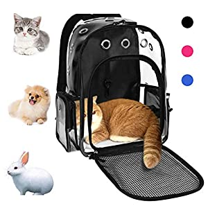 YUDODO Pet Cat Dog Backpack Carrier Travel Hiking Mesh Front Dog Backpack Carrier for Cat Rabbit Small Animal Breathable Clear Lightweight Pet Backpack for Outdoor Walking (Black 2-10lbs)