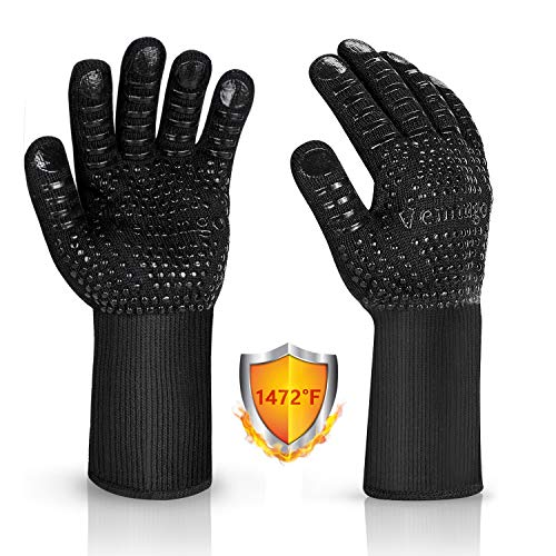 Vemingo BBQ Gloves 1472°F Extreme Heat Resistant Ov Grill Gloves Heat Proof/Fireproof Gloves Oven Mitts Barbecue Gloves for Smoker/Grilling/Cooking/Baking 12.5CM Large, Black