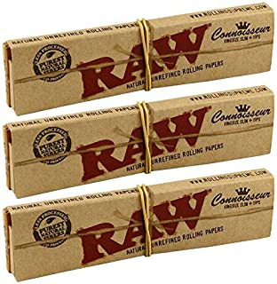 RAW Classic Connoisseur Kingsize Slim Skin Rolling Papers with Tips (3 Packs)