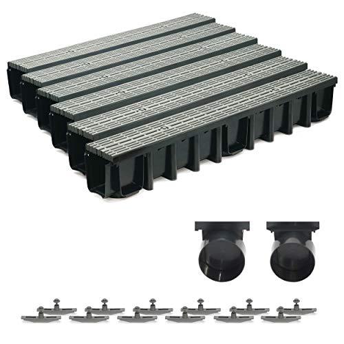 6m Entwässerungsrinne Terrassenrinne, System A15 148mm Stegrost Kunststoff, grau-line, komplett SET