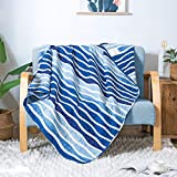 SLPR Blue Wave Quilted Throw Blanket - 50' x 60'   Summer Beach Nautical Lap Quilt for Couch and Bed