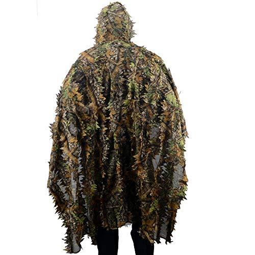 3D-Camouflage Bionic Umhang Tarnanzug Geely Kleid Blatt Tarnung Mantel Raincoat Art Vogel-Uhr (Color : Green)