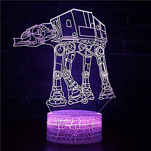 3D Night Light Space Warship Illusion Lamp 7 Colores Que Cambian El Control Remoto Touch Usb & Amp;Lámpara Decorativa De Juguete Con Pilas Para Regalos De Niños Niñas