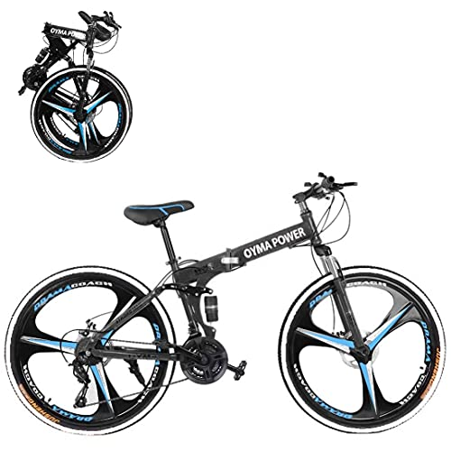 26 Inch Folding Outroad Mountain Bike 21 Speed Dual Disc Brakes Full Suspension Non-Slip MTB 6 Spoke Foldable Bicycle High Carbon Steel Road Bicycle City Commuters for Adults Teens Men Women