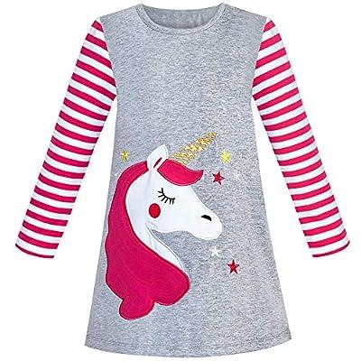 Vestido para niña Algodón Manga Larga Unicornio Bordado Gris 5 años
