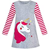 Vestido para niña Algodón Manga Larga Unicornio Bordado Gris 6 años