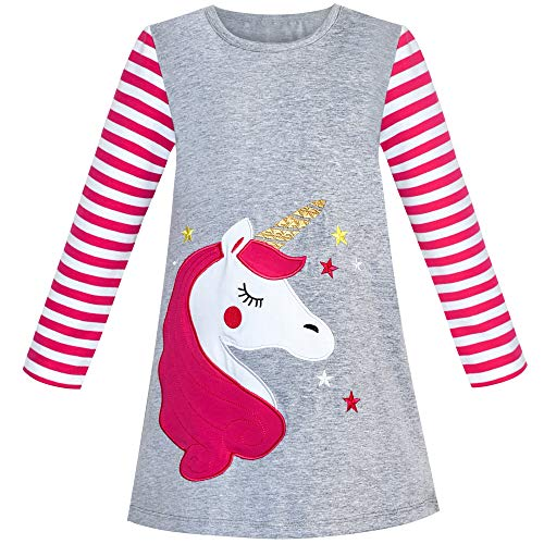 Vestido para niña Algodón Manga Larga Unicornio Bordado Gris 4 años