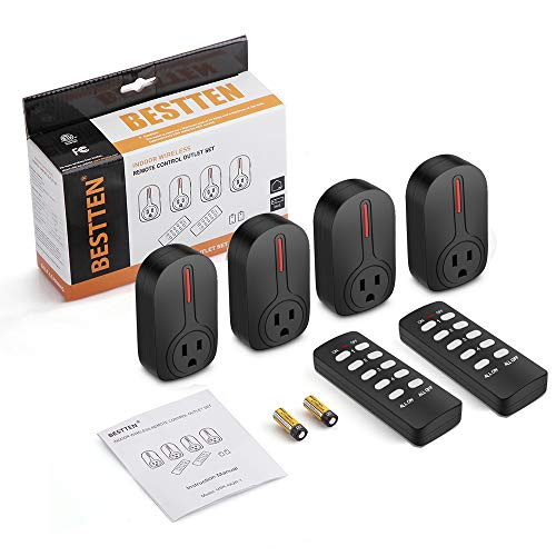 BESTTEN Wireless Remote Control Outlet Switch Set (4 Outlets, 2 Remotes) with 110 Foot Range, Learning Code, Home Automation Set, ETL Listed, Black