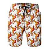 Ytavv Chinese Traditional Red Phoenix Pattern Men's Cool Quick Dry Swim Trunk Summer Beach Board Shorts with Mesh Lining/XL