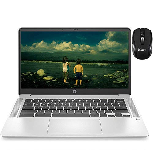 2020 Flagship HP Chromebook 14 Laptop Computer 14' FHD IPS Display Intel Celeron N4000 4GB RAM 32GB eMMC Intel UHD Graphics 600 B&O Webcam WiFi Backlit Chrome OS (Silver)+ iCarp Wireless Mouse