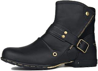 NANFAN Hommes Western Cowboy Bottes Bout Rond Bottines Courtes Moto Chevalier Chaussures D'équitation Grande Taille Chauss...