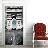 Adhesivo 3D Arc de Triomphecartel de puerta autoadhesivo, imagen de pared autoadhesiva DIY, papel tapiz impermeable de PVC-77cm(W)*200cm(H)