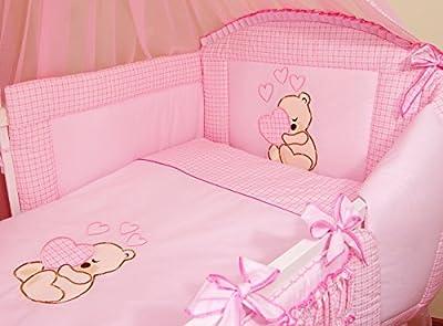 Ropa de cama para cuna de bebé, 100% algodón, conjunto completo de 3piezas con funda de edredón, funda de almohada y protector de cuna, diseño bordado de osito