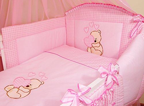Literie de bébé ensemble set complet 3 pièces Housse de couette Taie d'oreiller Tour de lit 100% coton avec broderie motif brodées nounours/ourson pour fille garçon (120x60cm, Rose)