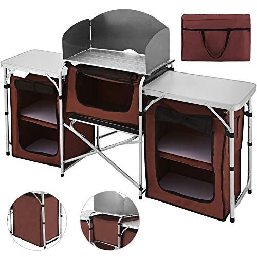 Happybuy Mesa de camping portátil multifuncional para cocinar, fácil de limpiar y ligera, con pantalla protectora contra el viento