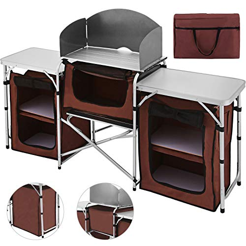 Happybuy Portable Camping Kitchen Table with plenty of storage space.