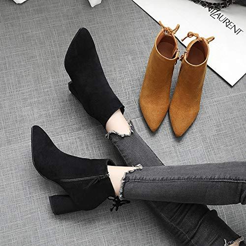 Shukun enkellaarsjes Women'S Boots lente en herfst enkele laarzen persoonlijkheid mode klein met korte laarzen dunne laarzen hoge hak Martin laarzen